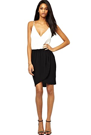 ASOS - John Zack - Vestido - vestido - para mujer Negro Schwarz / Creme: Amazon.es: Ropa y accesorios