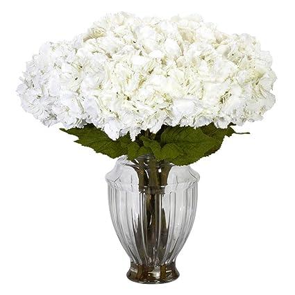 Amazon Large White Hydrangea With European Vase Silk Flower