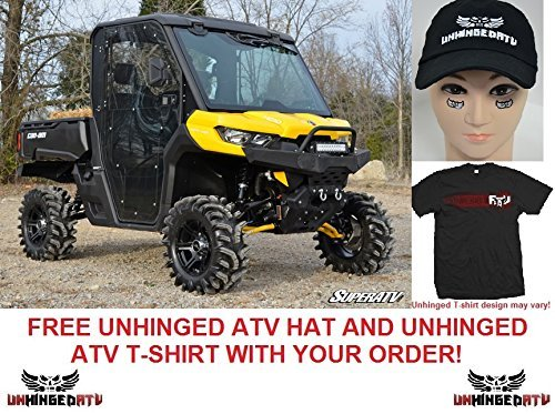 BUNDLE 2 items: Super ATV Can-Am Defender Full Cab Enclosure Doors/Front and Rear Windshields with FREE Unhinged ATV T-shirt and Hat! (Medium)