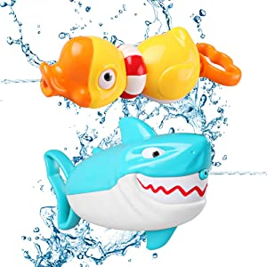 DX DA XIN Squirt Water Guns, 2-Pack Kids Pool Fighting Party Toy Duck Shark Shooter for Aquatic Family Game Summer Swimming Pool Beach Party Favors Bath Outdoor for Boy Girl
