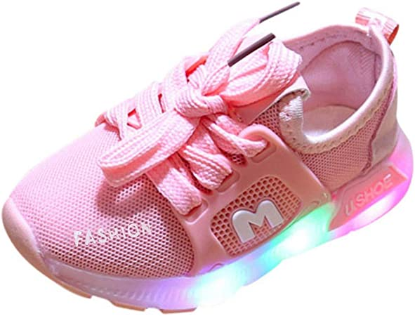 Kids Unisex Baby Boys Girls Breathable Non Slip Sports Sneakers Shoes Fitts for Child Aged 15Months-6Years Kuerqi Toddlers Infants Colorful Flashing LED Light Up Weaving Sneakers Shoes