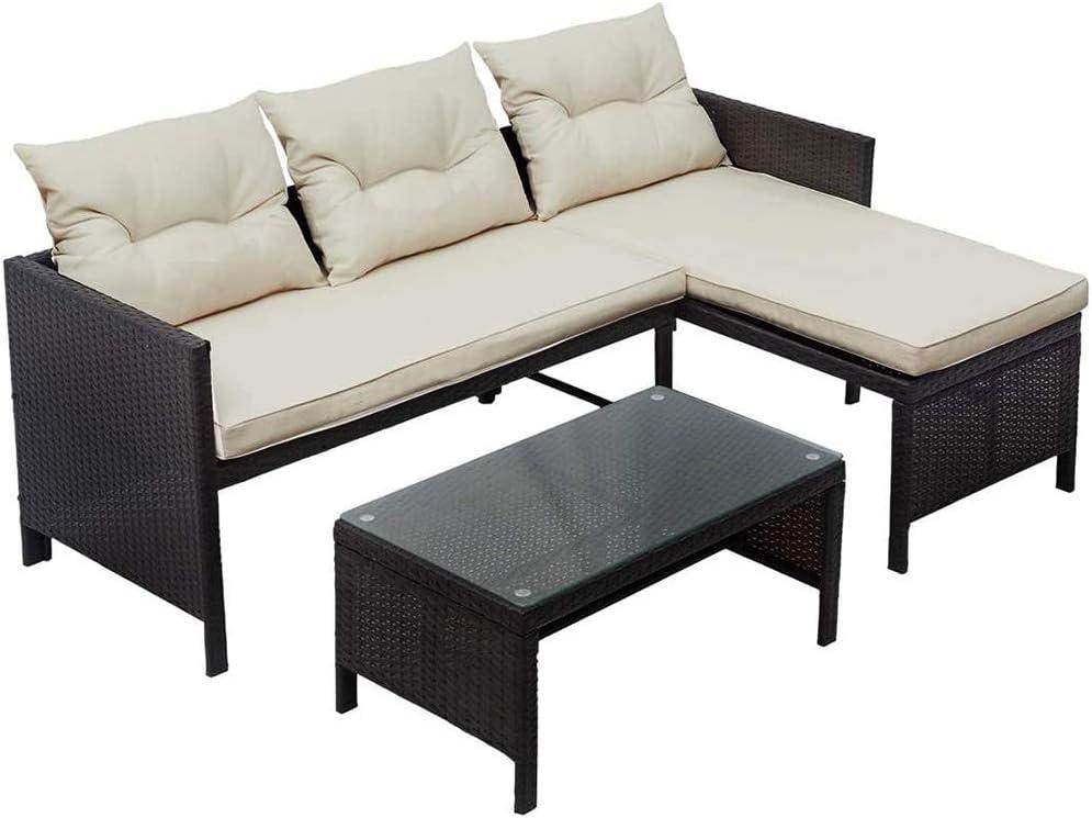 DNNAL Rattan de Mimbre del sofá, Asiento Muebles del Patio Doble y el Asiento de la calesa del sofá por un jardín Balcón Patio Junto a la Piscina Cubierta (3 Piezas)