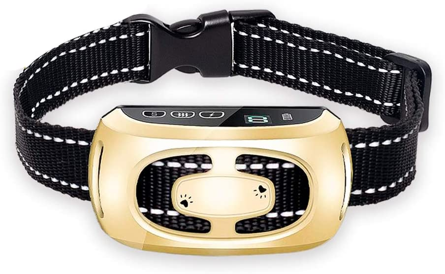 PiAEK Dog Bark Collar for Large Medium Small Dogs,Rechargeable LED Screen Stop Barking Waterproof Anti Barking Dog Collar with 9 Adjustable Sensitivity and Intensity Levels