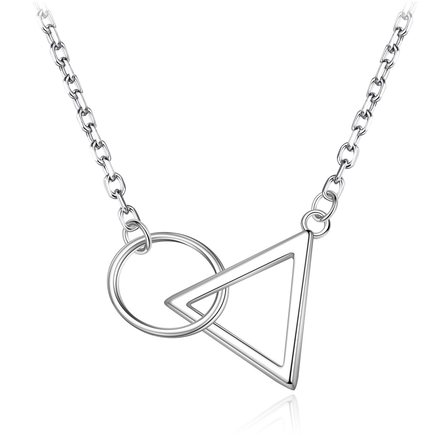 aff44faf3 Amazon.com: HUIMEI Sterling Silver Ring and Triangle Interlocking Necklace:  Jewelry