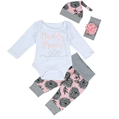 9e1775524 puseky Baby Girls Daddy's Princess Romper Top Floral Pant Hat Headband  Outfits 4Pcs Set (0