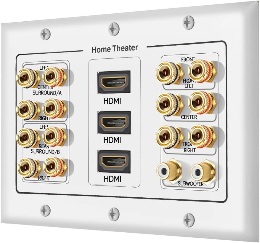 [3-Gang 7.2 Surround Sound Distribution] Home Theater Copper Banana Binding Post Coupler Type Wall Plated for 7 Speakers, 2 RCA Jacks for Subwoofers & 3 HDMI Ports