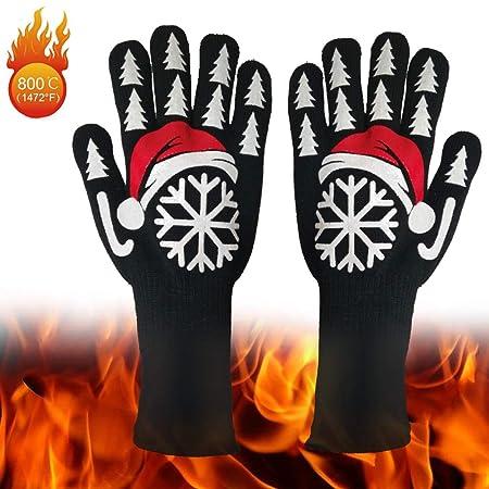 QI-shanping Guantes para horno, guantes de cocina resistentes al ...