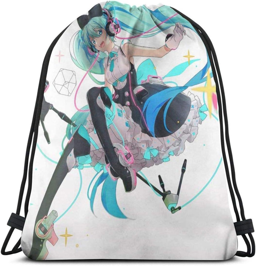Fengfeng Fashion Anime Singing Miku Pattern Drawstring Backpack Sports Gym Bag For Women Men Children Large Size