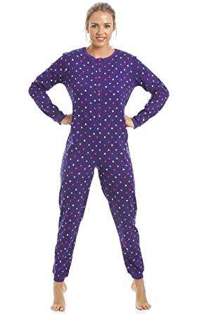 Camille Womens 100% Cotton Multi-Coloured Star Print Purple Onesie 10/12 PURPLE