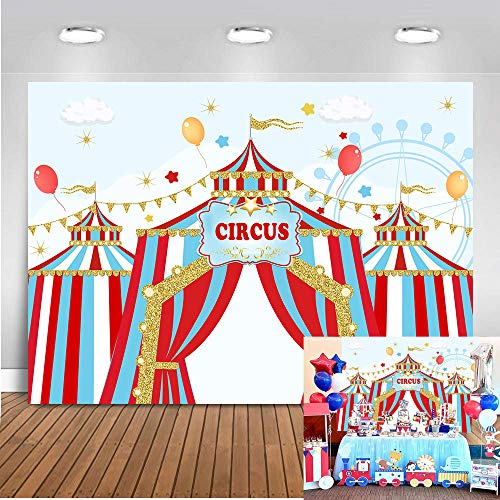 Art Studio Circus Carnival Theme Kids Birthday Party Photography Backdrop Blue Sky Red White Striped Tent Ferris Wheel Baby Shower Dessert Table Decor Banner Photo Studio Props Booth Vinyl 7x5ft