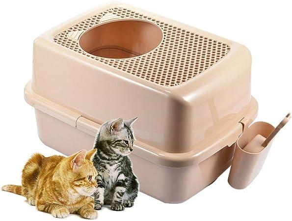 GCSEY Caja de Arena para Gatos, Kit de Inodoro semicerrado para Gatos con Escudo y Lavabo portátil de Malla para Ayudar a los Gatos a desarrollar Buenos hábitos Marrón Puro: Amazon.es: Hogar