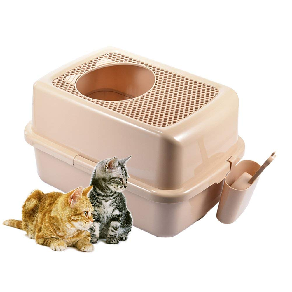 GCSEY Cat Litter Box, Semi-Closed Cat Toilet Kit with Shield and Scoop Mesh Portable Basin to Help Cats Develop Good Habits Pure Brown