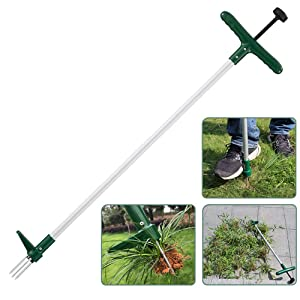 Walensee Stand Up Weeder and Weed Remover Tool, Stand up Manual Weeder Hand Tool with 3 Claws, Stainless Steel and High Strength Foot Pedal, Weed Puller (1 Pack (Stand Up Weeder))
