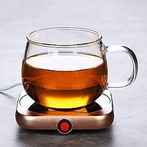 ZXL Mug Warmer Coffee Cup Warmer,Desktop Coffee Cup Warmer and Cup Warmer, 16W Electric Cup Beverage Insulation Board, Used for Tea, Water, Cocoa, Milk Heating 55 Degrees (Color : Figure 5+Cup)