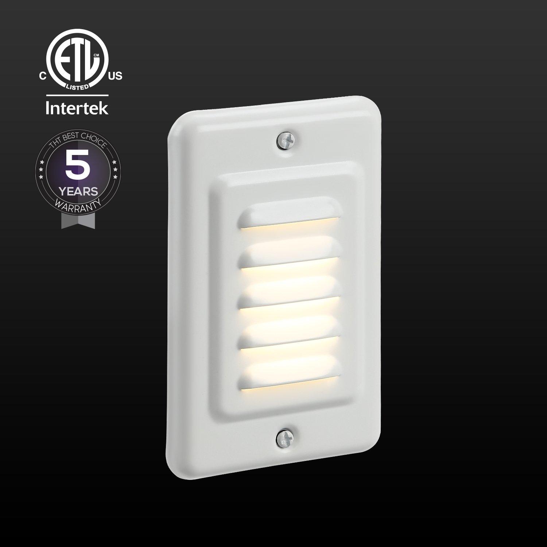 TORCHSTAR Indoor/Outdoor LED Step Light, IP65 Waterproof Mini Wall Mount Stair Light, ETL Certified, 5 Years Warranty