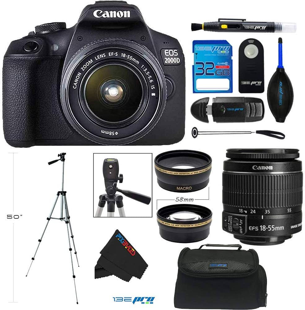 Canon EOS 2000D / Rebel T7 Digital SLR Camera w/ 18-55MM with EF-S 18-55mm f/3.5-5.6 DC III Lens (Black) + PixiBytes Advanced Accessory Bundle