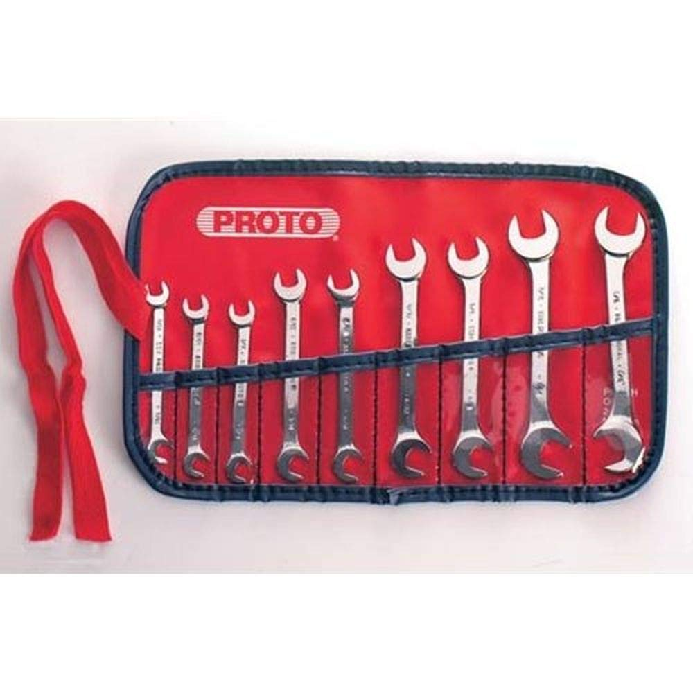 Stanley Proto J3300A 9 Piece Short Open End Angle Wrench Set by Proto
