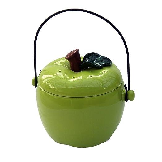 ceramic apple kitchen compost caddy green compost crock compost bin