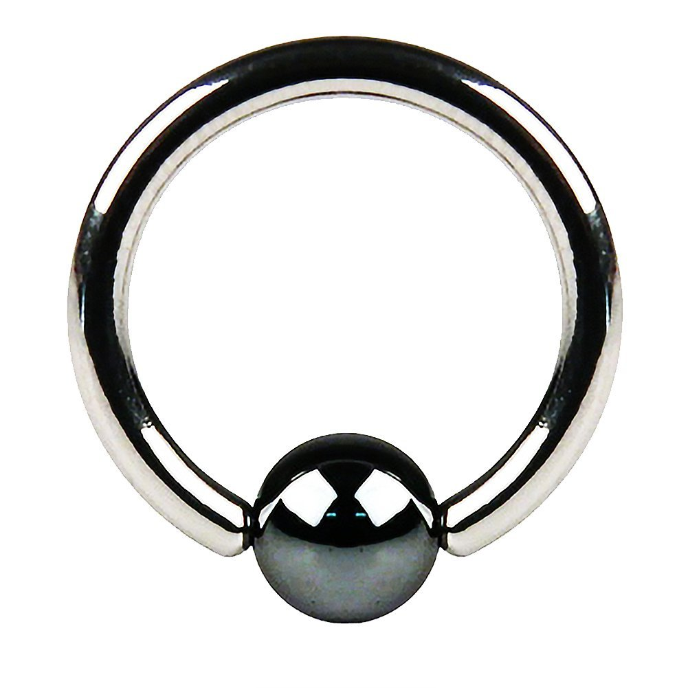 Fifth Cue Hematite Plated Captive Bead Ring 316L Surgical Surgical Steel FifthCue IRRSH-16