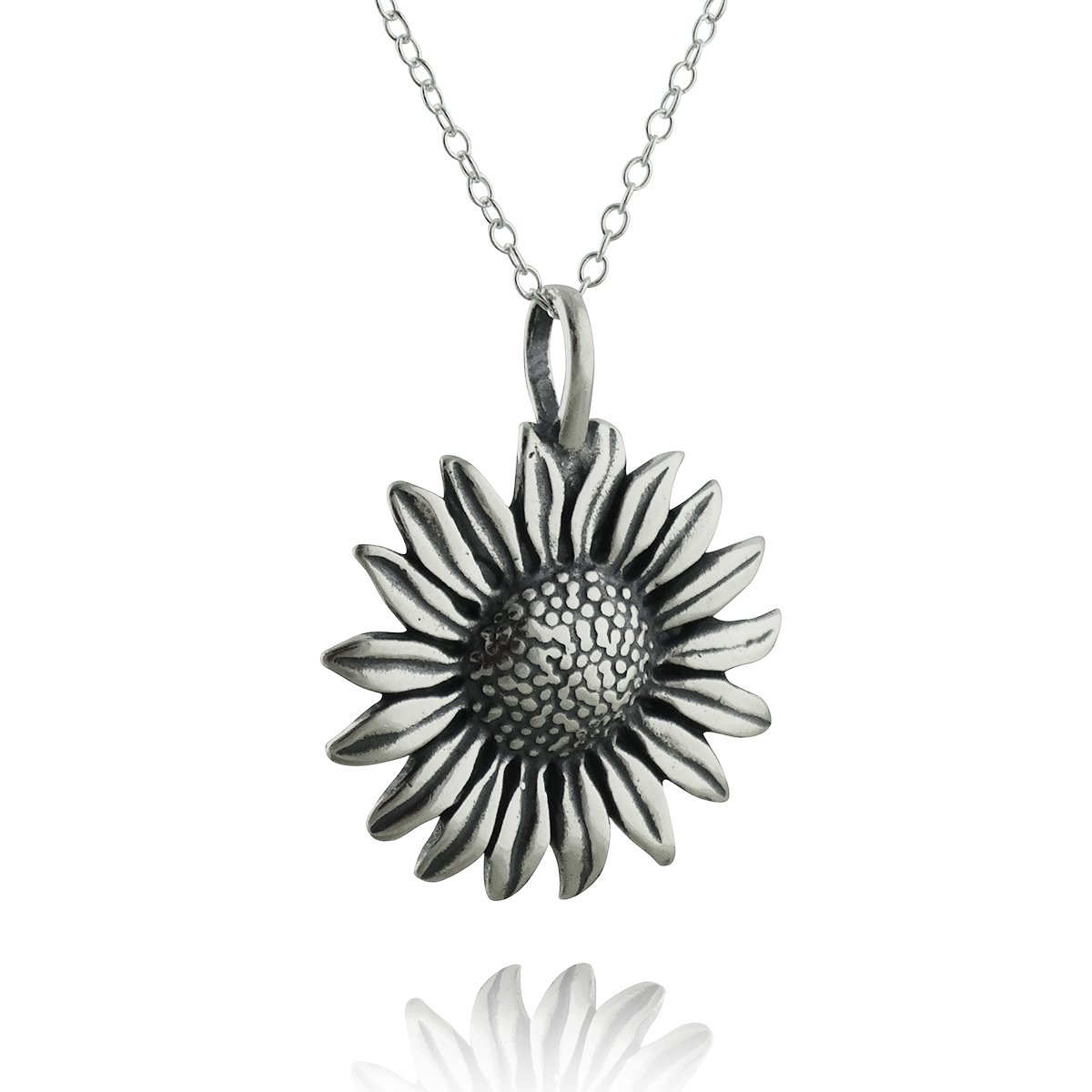 FashionJunkie4Life Sterling Silver Sunflower Pendant Necklace, 18'' Cable Chain