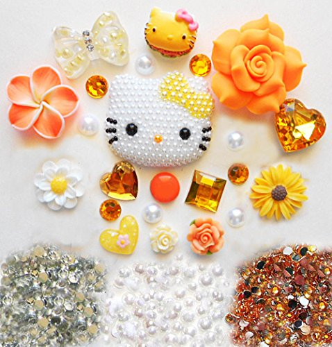 LOVEKITTY TM Z390 DIY 3D Pearled Yellow Bow Kitty Bling Bling Cell Phone Case Resin Flatback Kawaii Cabochons Deco Kit / Set