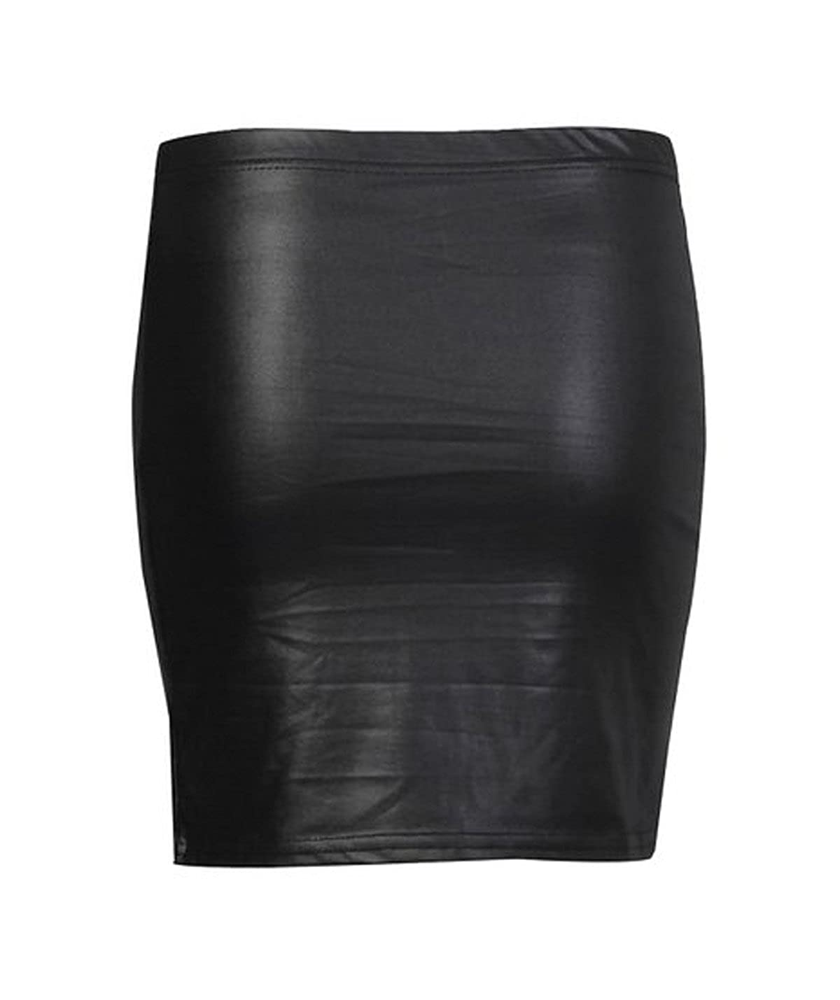 38832e9a3bcaa Amazon.com: FashionMark Womens Plus Size Wet Look Faux Leather Mini Skirt  Ladies Celebrity PVC Leather Skirt - Black - Sizes 6-18: Clothing