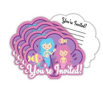amazon com mermaids under the sea birthday party invitations