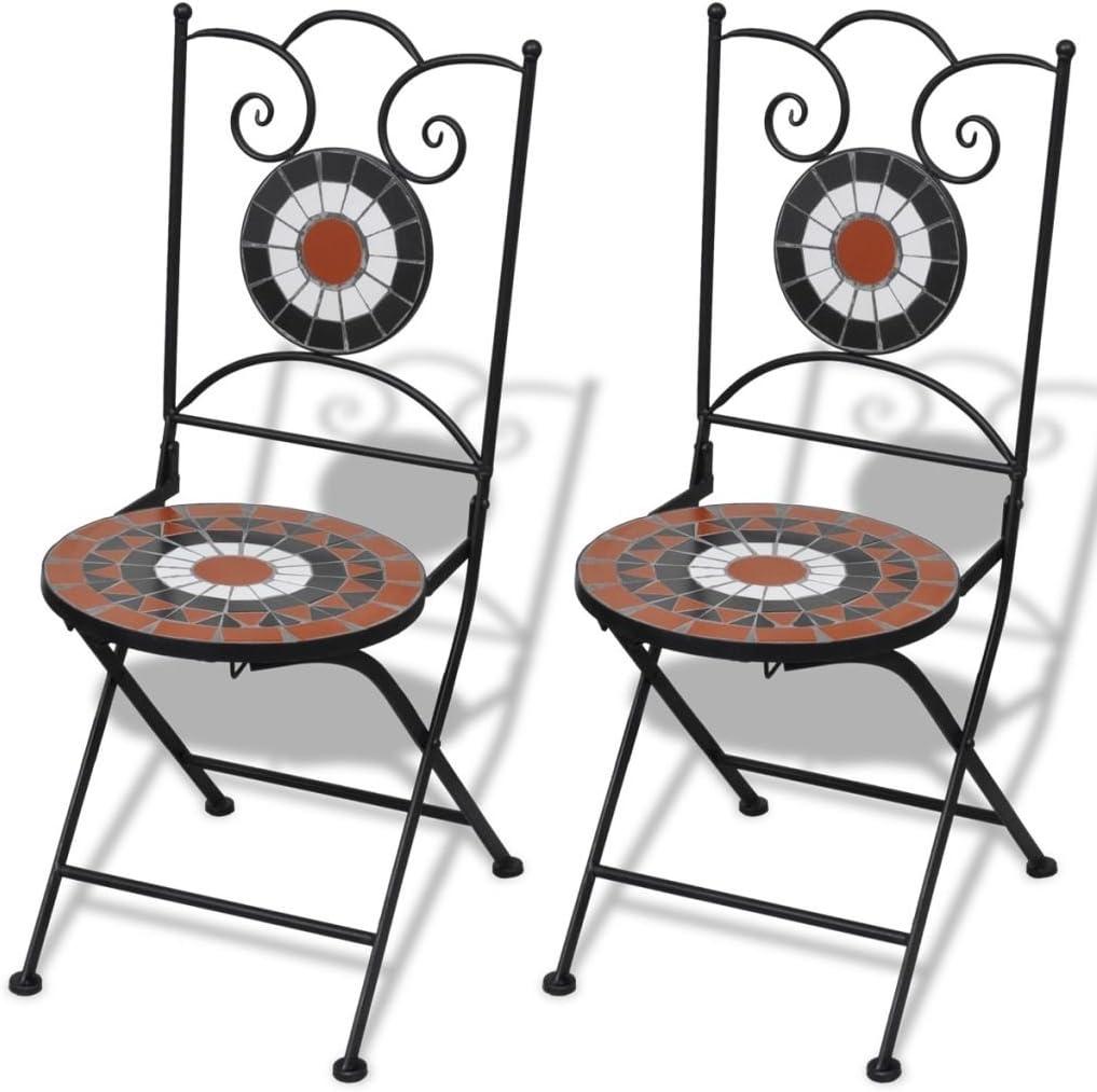vidaXL Set 2 sillas Mosaico Asiento de cerámica jardín terraza balcón Terracota Blanco