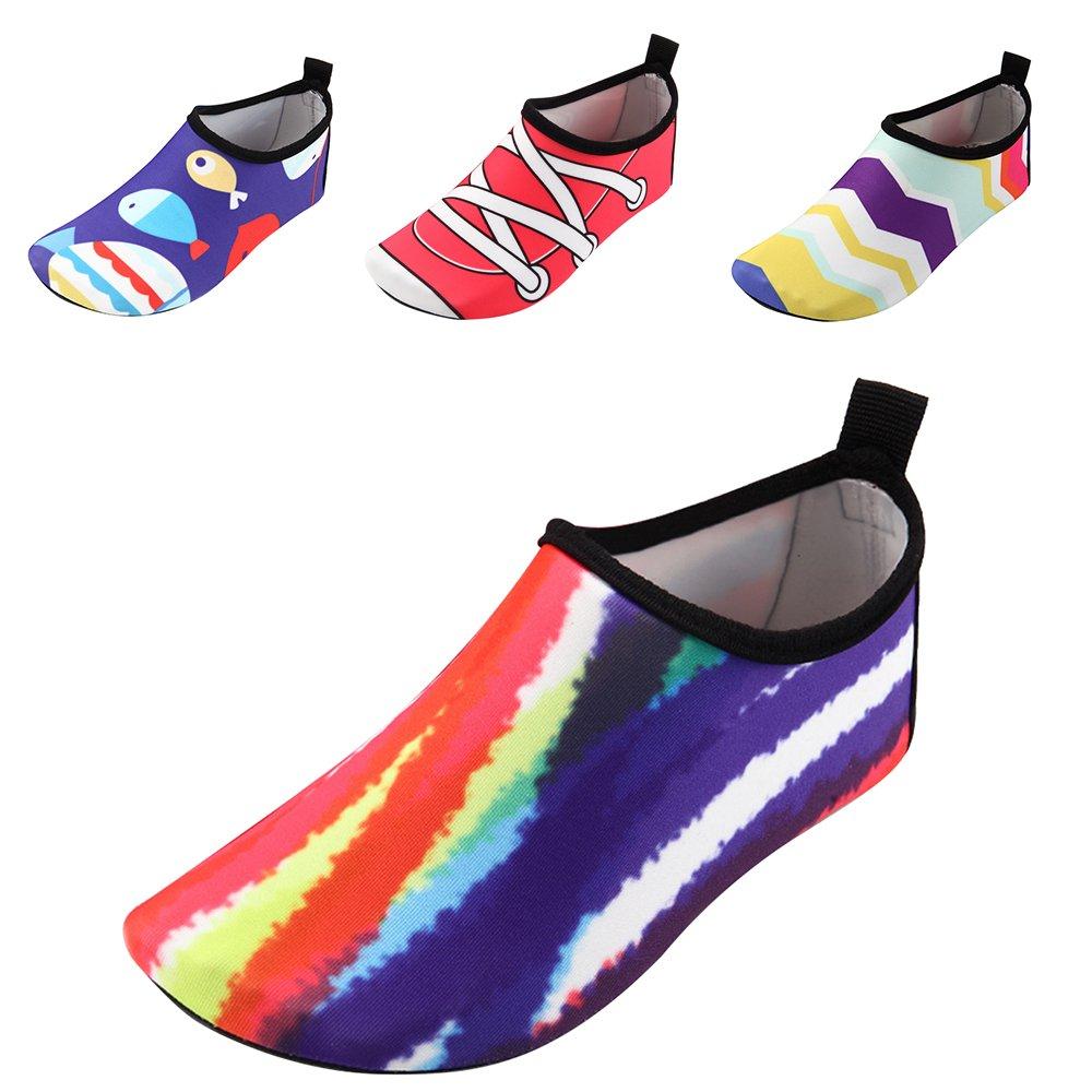 JACKSHIBO Kids Water Shoes, Lightweight Skin Swim Shoes Quick Dry Barefoot Aqua Socks Shoes Beach Surf Yoga Exercise