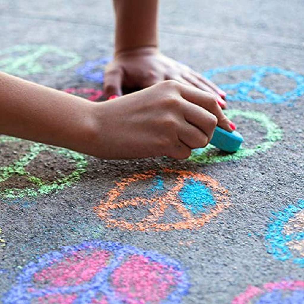 Multicolor DAYPLAY 48-Count Colorful DIY Painting Sidewalk Chalk Kids Non-Toxic Dustless Chalk Driveway Art Floor Chalks for Art Decorating Whiteboard Blackboard Chromatic Dust Free Chalk