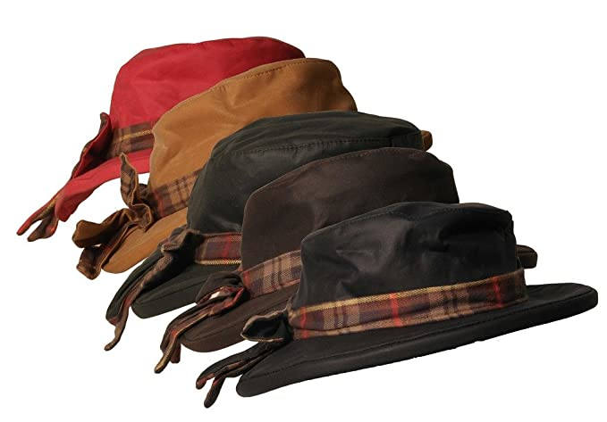 1930s Style Hats | 30s Ladies Hats Walker and Hawkes Womens Wax Riding Thelma Bow Knot Hat With Tartan Trim $27.12 AT vintagedancer.com