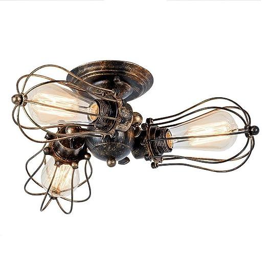 Vintage Diseñador Luces de techo Negro Alrededor Hierro ...