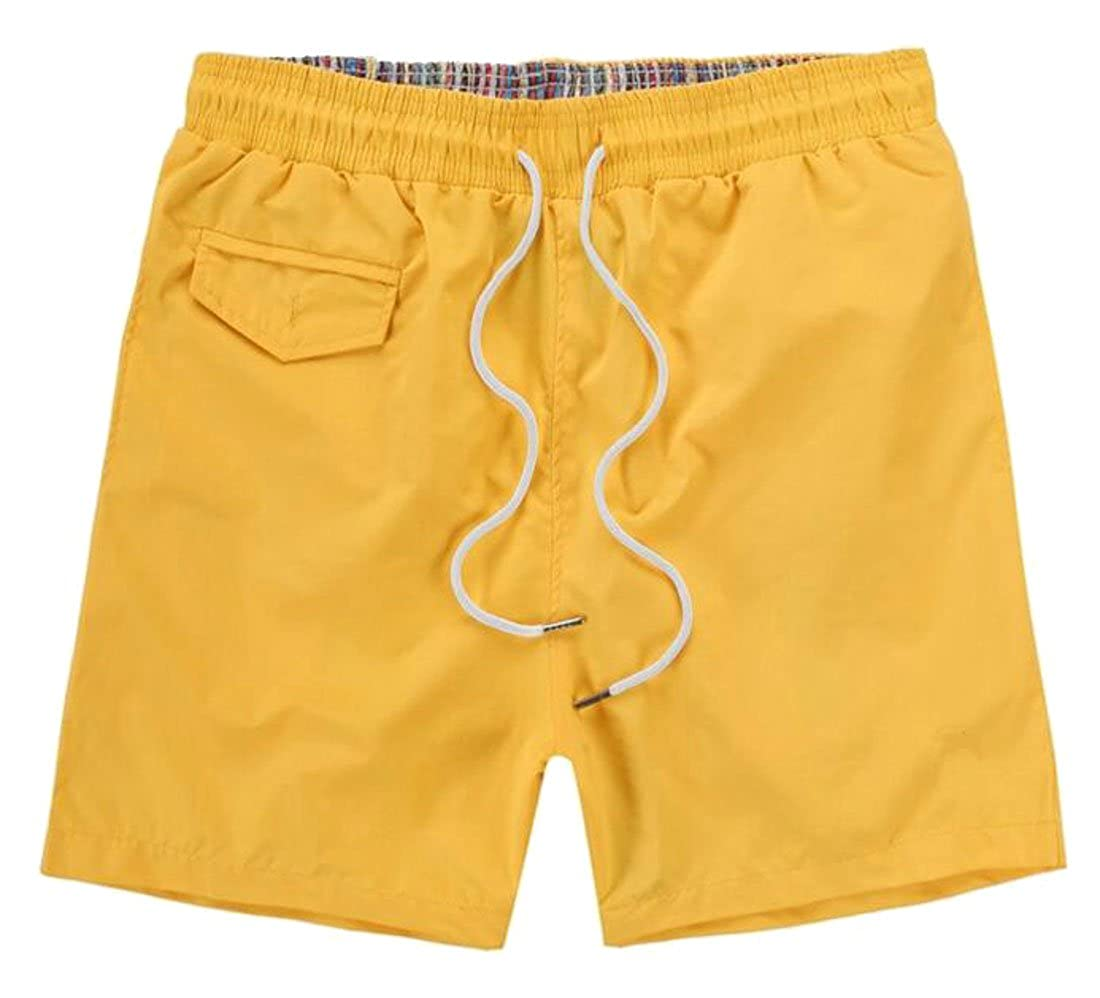 Revolutee Mens Summer Bathing Suits Cool Dry Classic Flat Front Beach Shorts