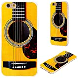 iPhone 6s Case,iPhone 6 Case,VoMotec [Cute series]Shockproof Anti-scratch Slim Flexible Soft TPU Protective Skin Cover Case For iPhone 6 6s 4.7 inch,funny yellow Acoustic guitar