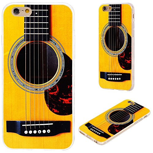 iPhone 6s Plus Case,iPhone 6 Plus Case,VoMotec [Cute Series] Anti-Scratch Slim Flexible Soft TPU Protective Shell Cover Case for iPhone 6 6s Plus 5.5,Funny Yellow Acoustic Guitar (Pretty Guitar Case)