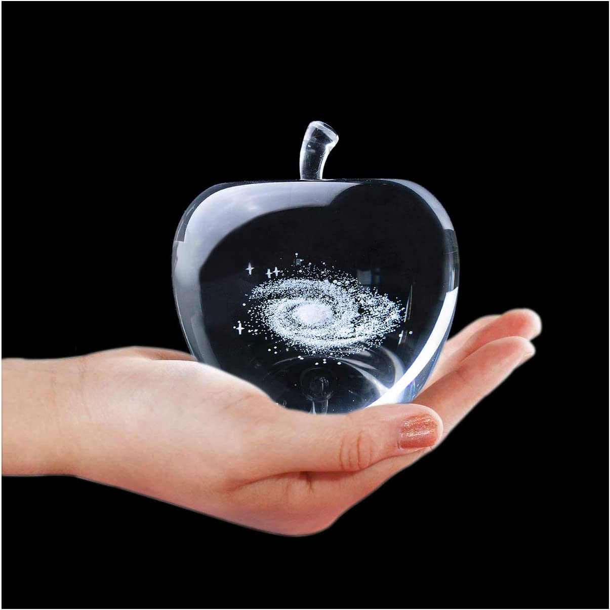 H&D HYALINE & DORA Clear Galaxy Crystal Glass Apple Paperweight
