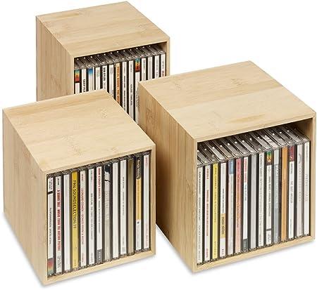 CD-Box Weiss Dekoratives ansprechendes Design CD-Aufbewahrungs-Boxen aus Holz: 3 CD-Boxen f/ür bis zu 40 CDs CD-Aufbewahrung mit Stil. cubix Neu