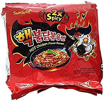 Samyang 2 X Spicy Hot Chicken Flavor Ramen Korean Spicy Noodle (140g Each) (5 Packs) by Samyang