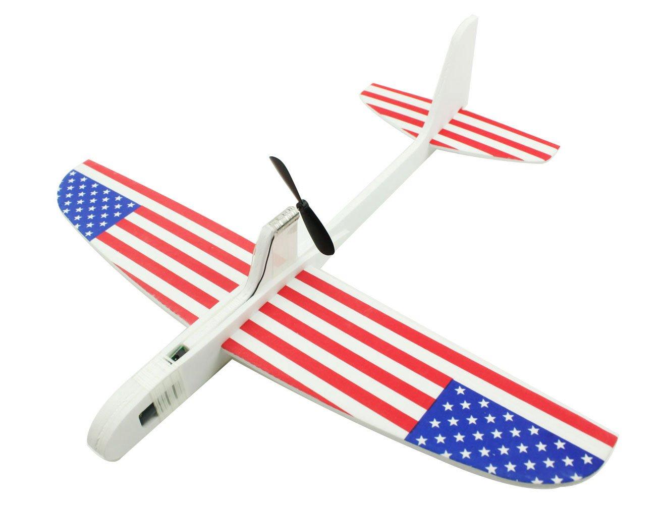 TSAAGAN Creative DIY Foam Airplane Kit Kids Educational Foam Airphane Toys -USA Flag