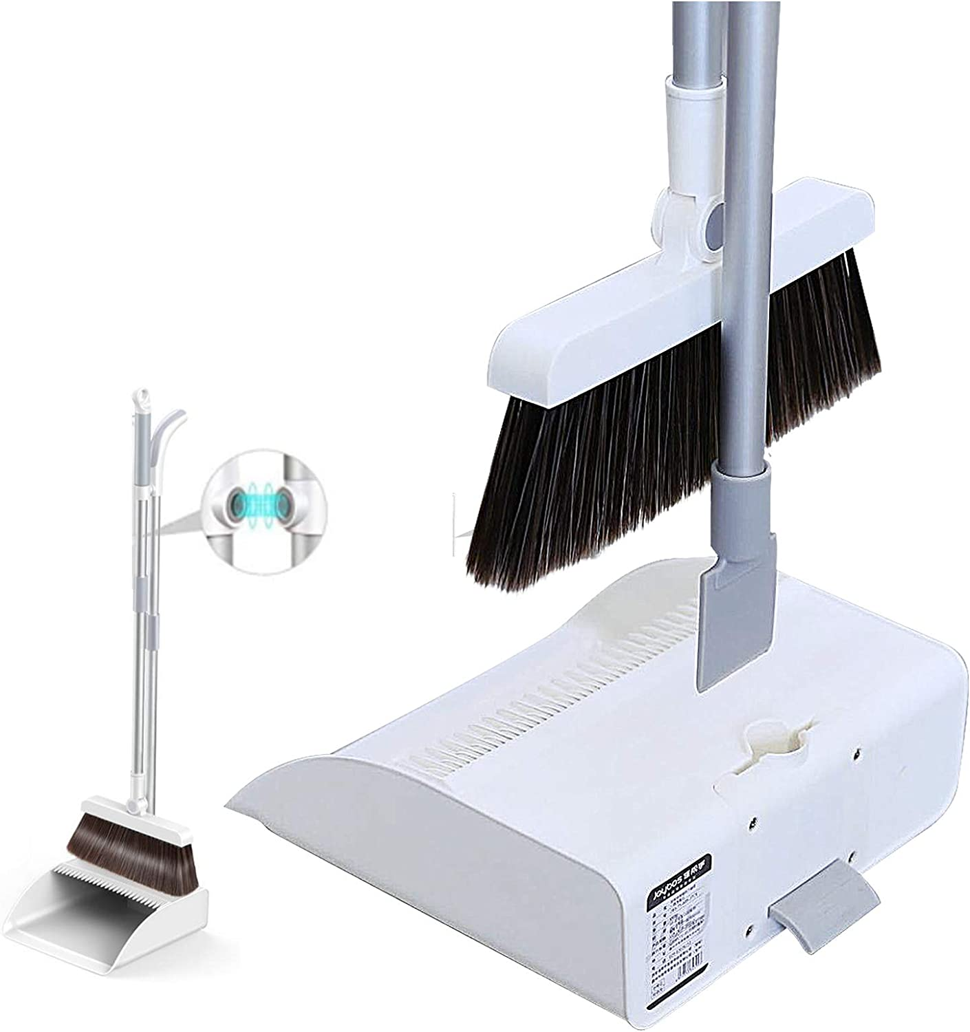 Broom and Dustpan Set,Orient P&E 3in1 180°Rotating Broom Magnetic Automatic Buckle Dustpan Broom Combo with Scraper for Home Kitchen Room Office Lobby Floor Pets Use