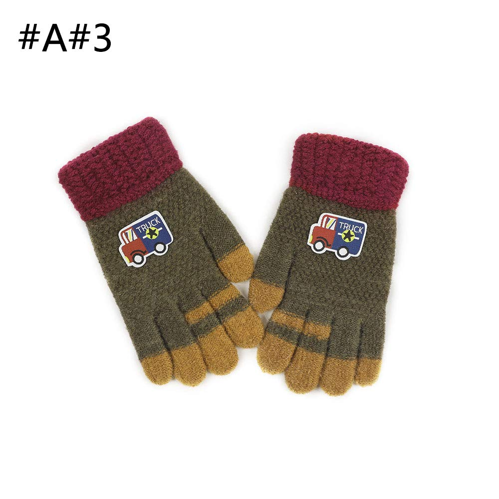 PBFONE Kids Winter Knit Gloves Children Wool Lined Warm Glove with Touch Screen Tech Magic Gloves Cartoon Truck Designs
