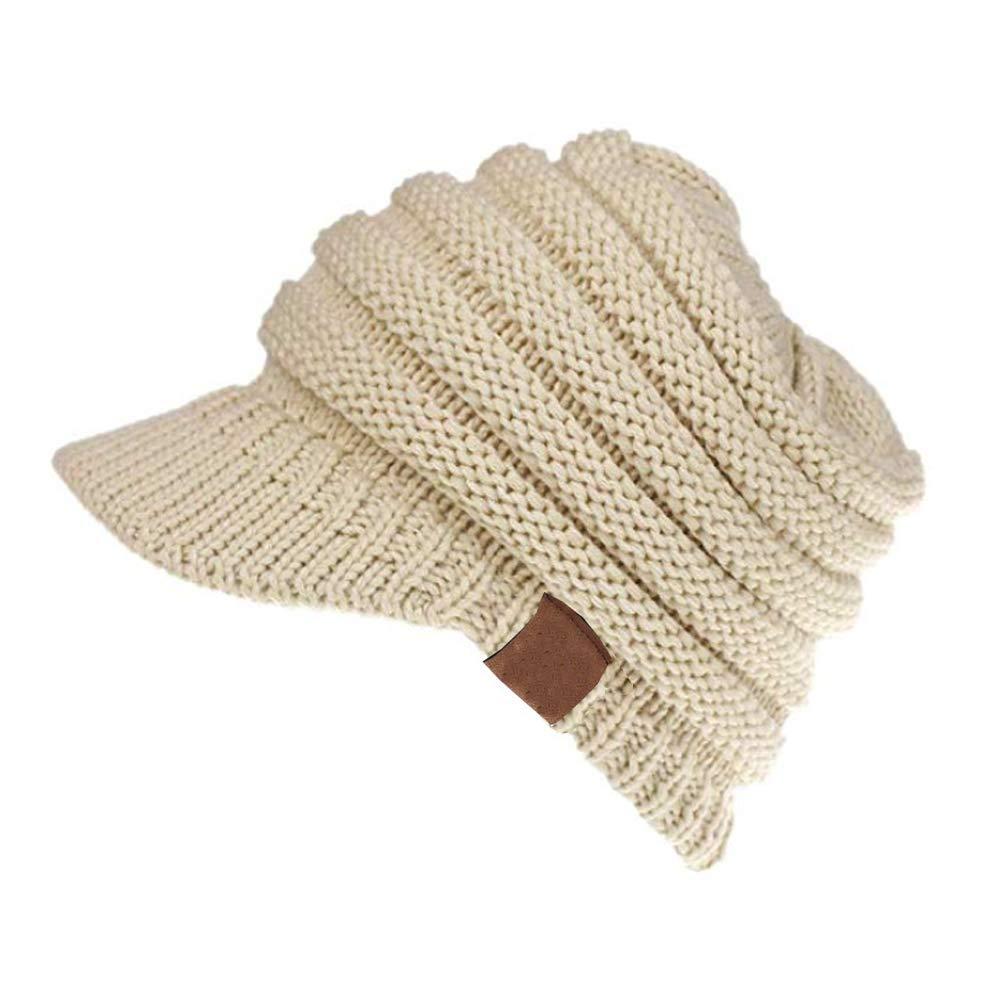 ANTTAA Womens Soft Winter Warm Knitted Hat Visor Brim Skully Cap Keep Warm Baseball Cap Beanie Tail