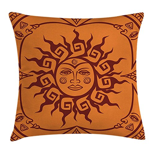 (Wecye Sun and Moon Throw Pillow Cushion Cover, Tribal Face of Sun Motif Surrounded by Crescent Moons in Warm Colors, Decorative Square Accent Pillow Case, 18 X 18 Inches, Orange and Burgundy )