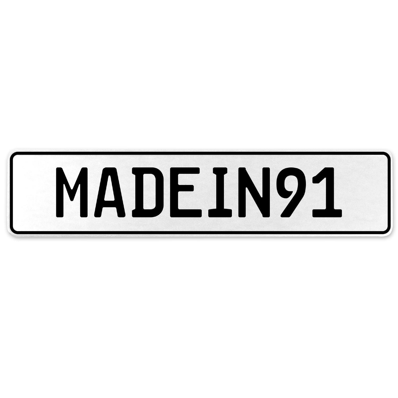 Vintage Parts 555579 MADEIN91 White Stamped Aluminum European License Plate