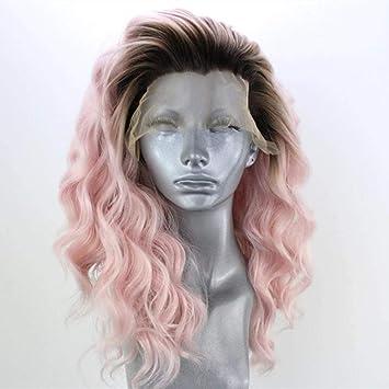 Cabello peluca ondulada corta rosa 12 pulgadas densidad pelucas ...