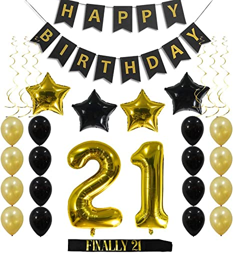 21 Gold Balloons 21 Birthday Decorations 21st Birthday Gold Pack of 29 Large 21 Birthday Party Supplies Kit for 21 Year Old KATCHON Gold 21st Birthday Decorations 21st Birthday Balloons