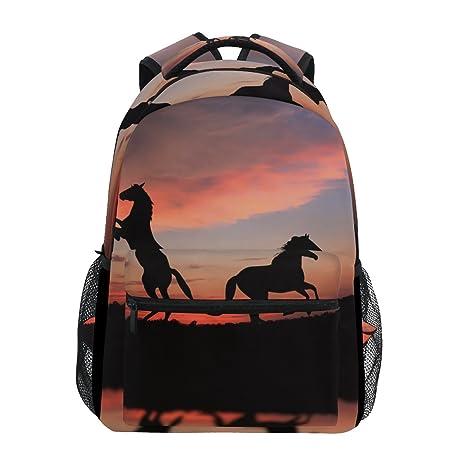 COOSUN Caballo sobre Sunset Mochila Casual Escuela Mochila bolsa de viaje Multicolor