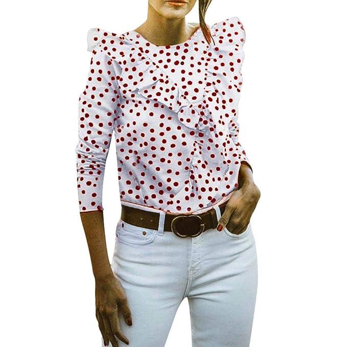 Mujer V Palabra Espalda Abierta Volantes Punto De Ola Manga Larga Top,Belasdla Camiseta para