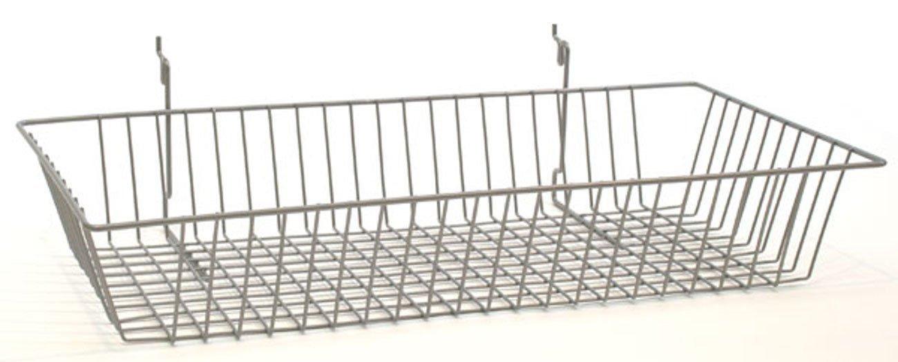Set of 8 New Retails Powder Coated Chrome Wire Basket 24''w x 12''d x 4''h