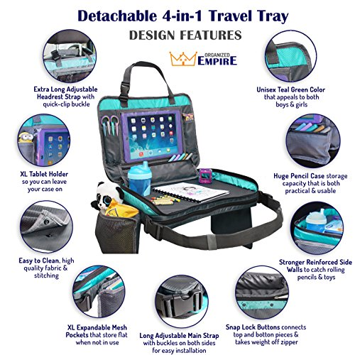 ORGANIZED EMPIRE's Detachable 4 in 1 Car Seat Travel Tray, Storage Organizer, Carry Bag & Tablet Holder for kids all in one. Most stable back seat Snack Tray on the market, no balancing required by Organized Empire (Image #6)